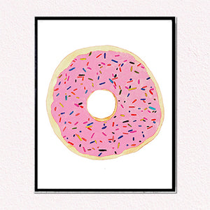 Pink Donut with Sprinkles Art Print by Tanya Madoff