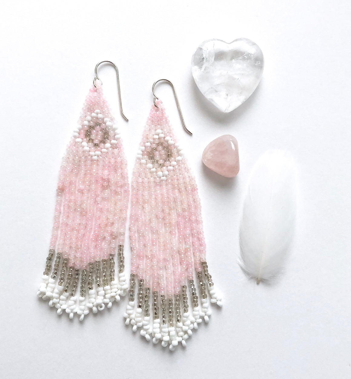 Handmade Pink Seed Bead Fringe Earrings - Art Deco Style with antique blush, white and silver beads