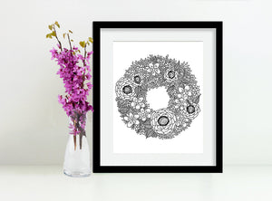 Framed Flower Wreath Art Print, Black and White, by Tanya Madoff