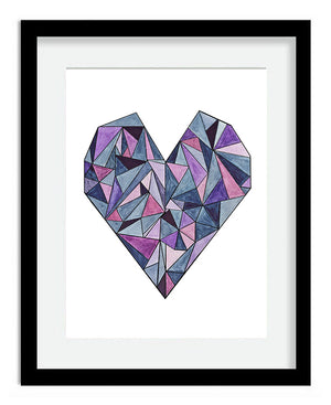 Framed Geometric Heart 6x8 Art Print by Tanya Madoff