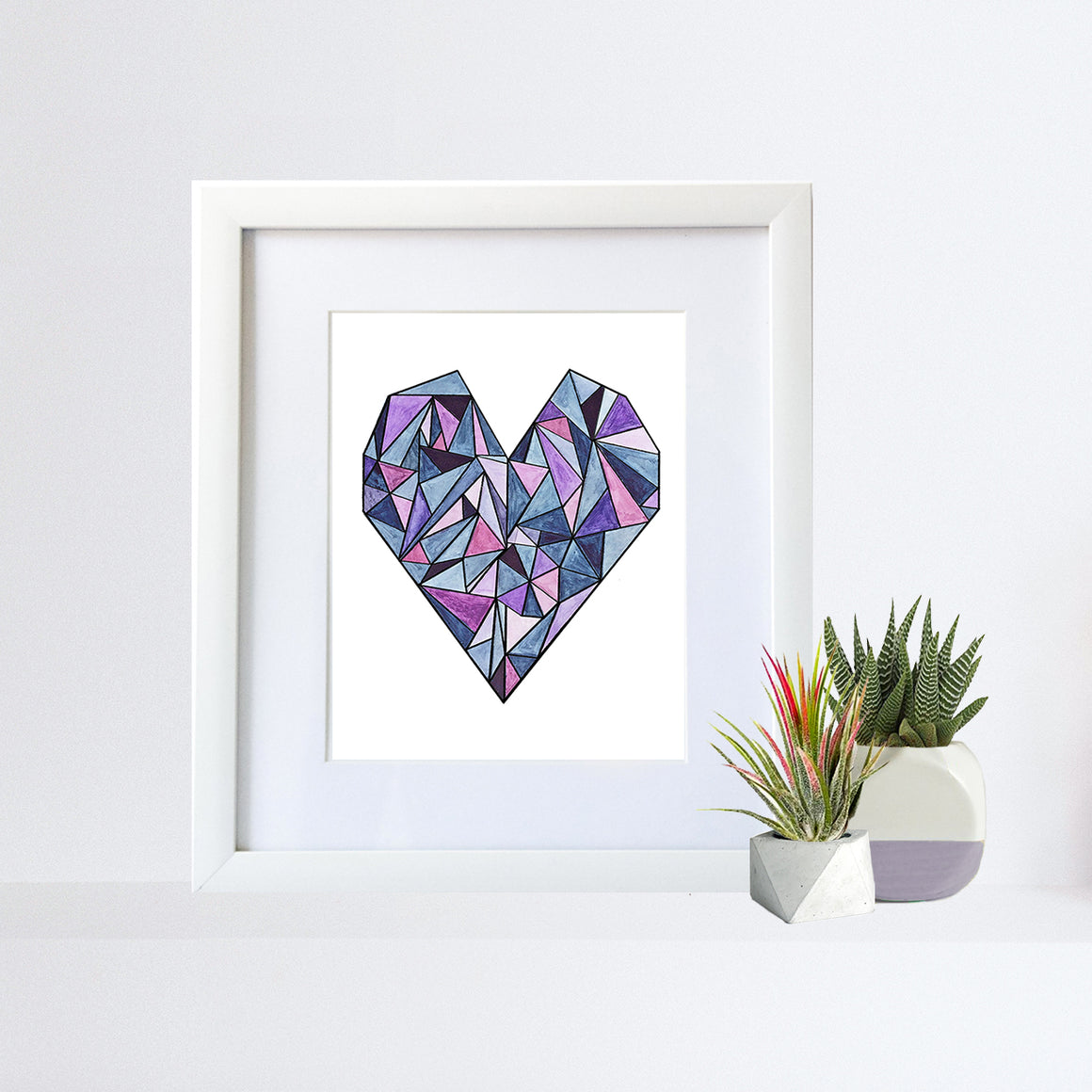Framed Geometric Heart 8x10 Art Print by Tanya Madoff