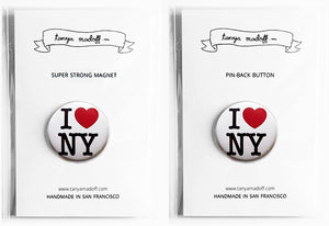 "I Love NY - 1"" Pin or Magnet"