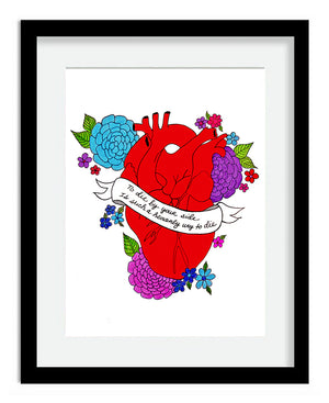 To Die By Your Side Anatomical Heart 6x8 Art Print