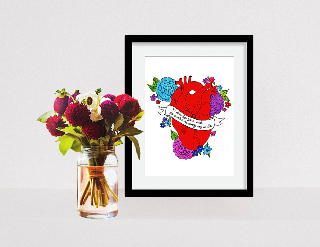 To Die By Your Side Anatomical Heart Print