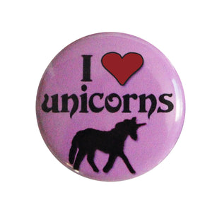 "I ♥ (love) Unicorns - 1"" Pin or Magnet in Pink"
