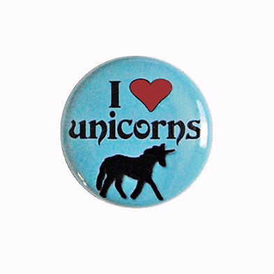 "I ♥ (love) Unicorns - 1"" Pin or Magnet in Blue or Pink"