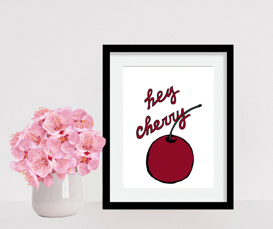 Framed Hey Cherry Art Print (6 x 8) by Tanya Madoff