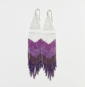 Jacaranda Dream no.1 Seed Bead Fringe Earrings Ombre purples in chevron pattern