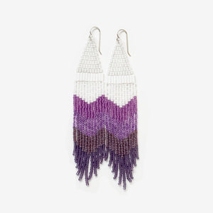 Jacaranda Dream no.1 Seed Bead Fringe Earrings - Violet Collection