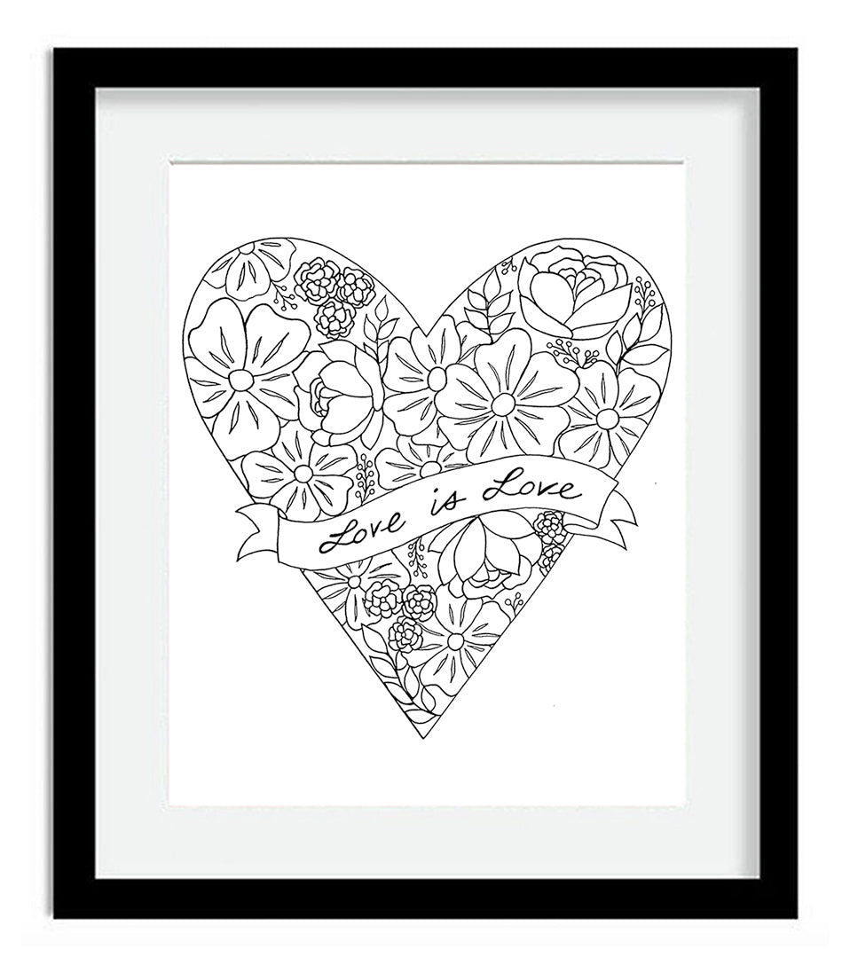 Love Is Love Heart With Flowers Art Print By Tanya Madoff Tanya