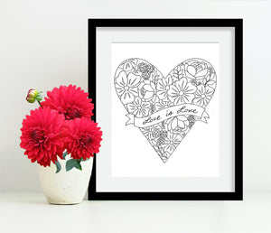 Framed Love is Love Heart with Flowers 8x10 Art Print by Tanya Madoff