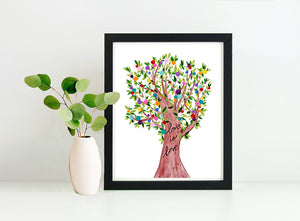 Love is Love Rainbow Colors Tree 8x10 Art Print by Tanya Madoff