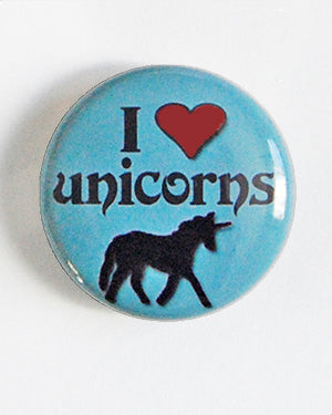 "I Love Unicorns - 1"" Pin or Magnet"