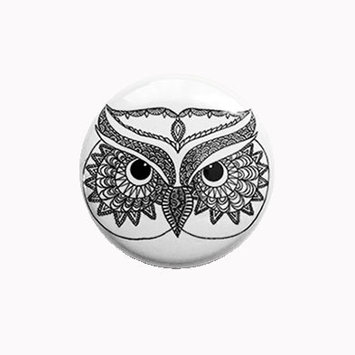 "Mandala Owl Black and White - 1"" Pin or Magnet"