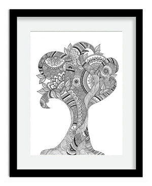 Framed Mandala Tree Black and White Art Print by Tanya Madoff