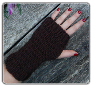 Outer Sunset Fingerless Mitts - Chocolate Brown, Knitted by Hand