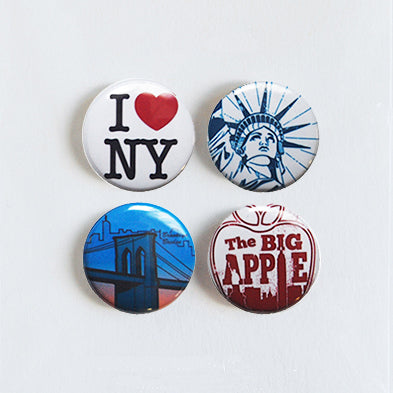 New York - Set of 4 Pin-back Buttons