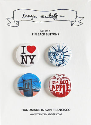 New York Buttons - Set of 4 Pin Back Buttons