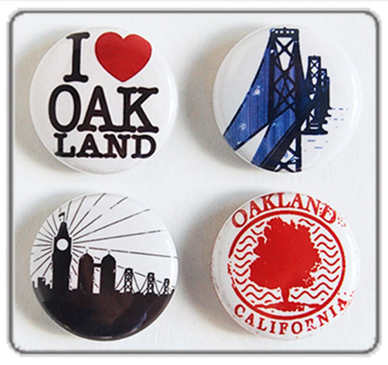 "I Love Oakland Pin Back Buttons - set of four 1"" pinback buttons"