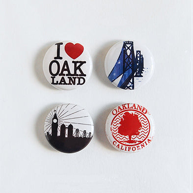 I Love Oakland - Set of Four Pin-Back Buttons