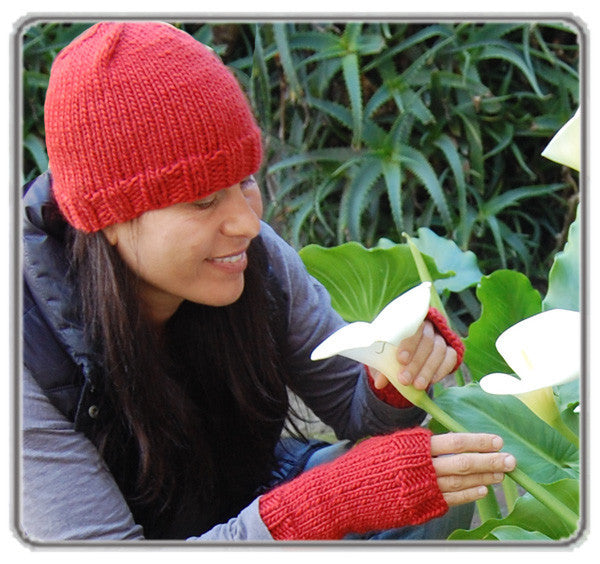 Fingerless Mitts, Unisex, Tomato Red (Matching Hat also pictured)