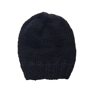 Outer Sunset Hat - Onyx (Black), knitted by hand