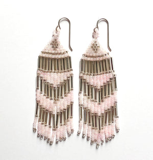 Handmade Pink Seed Bead Fringe Earrings - Vintage Pink Art Deco , White, Silver and Mirror beads