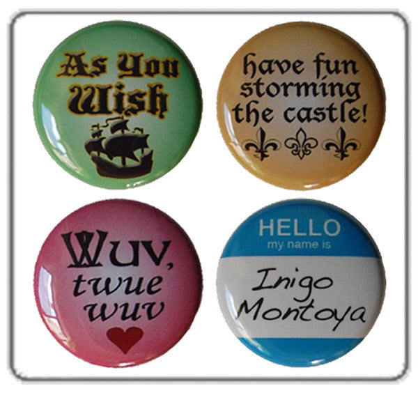 The Princess Bride Set of 4 Buttons