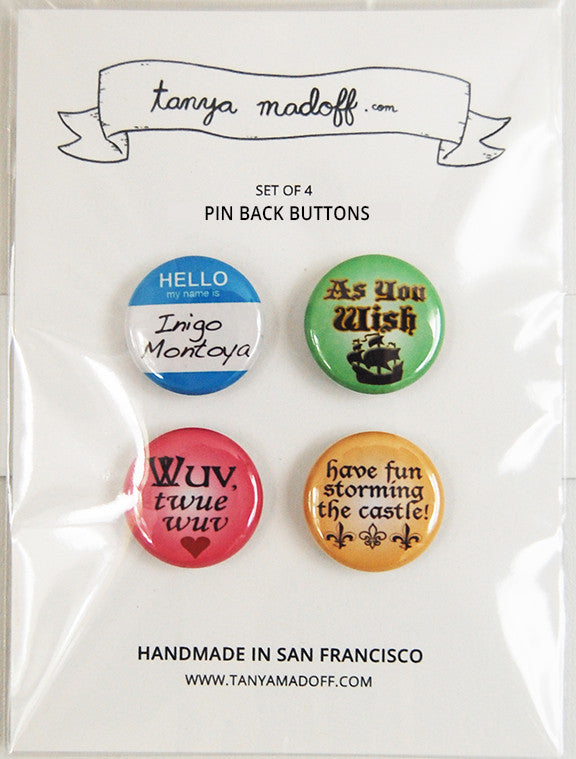 "Princess Bride - Set of Four 1"" Pin-Back Buttons"