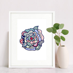 Abstract Flower Print, Art Deco Colors