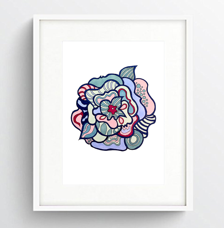 Colorful Abstract Flower Print, 6x8 size, ready for framing