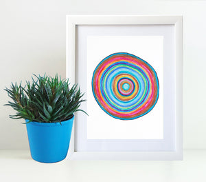 Rainbow Circle 8x10 Art Print by Tanya Madoff shown in frame