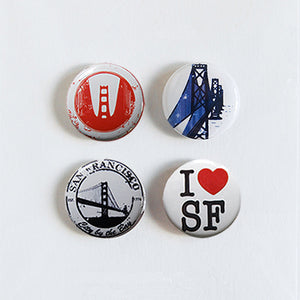 "I Love San Francisco - Set of Four 1"" Super Strong Magnets"