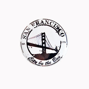"Golden Gate Bridge Stylized Stamp - 1"" Pin or Magnet, black and white"