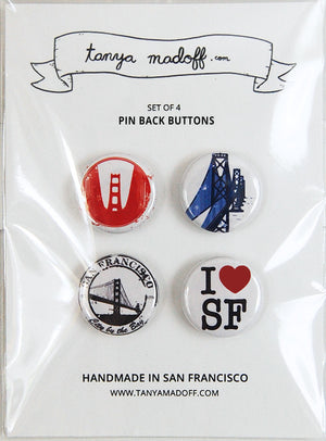 "I Love San Francisco - Set of Four 1"" Pin-Back Buttons"