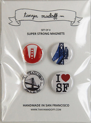 I Love San Francisco Magnets - Set of Four Super Strong Magnets