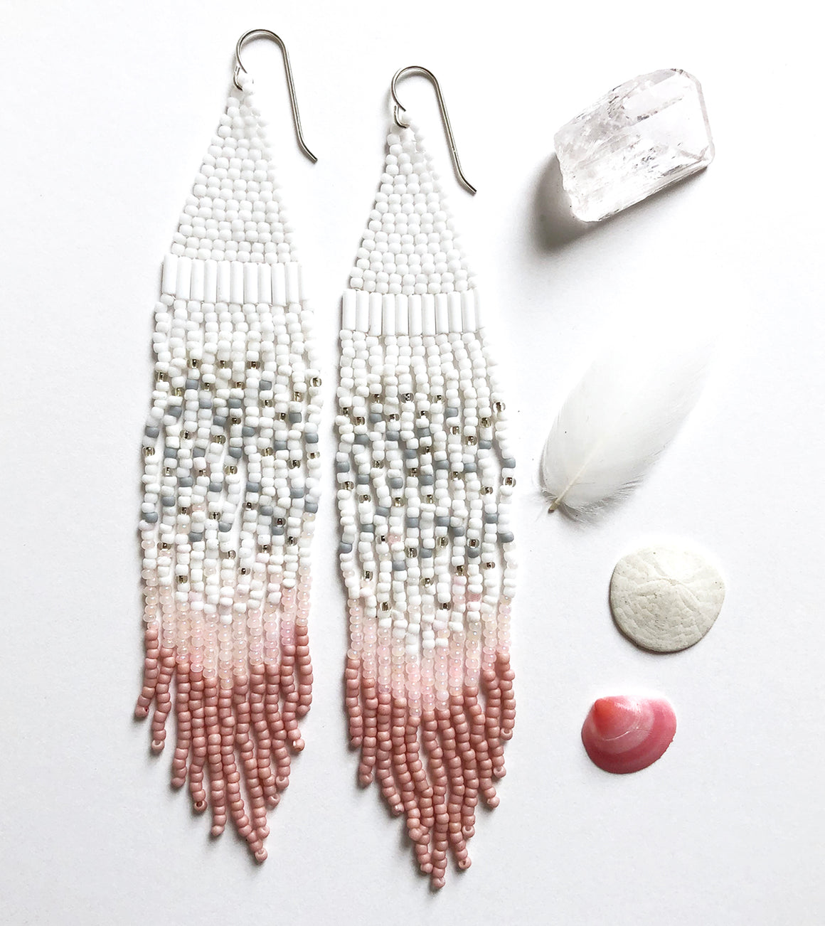 Extra long Handmade Seed Bead Fringe Earrings - blush pink, white and silver vintage beads combined with matte gray and pink