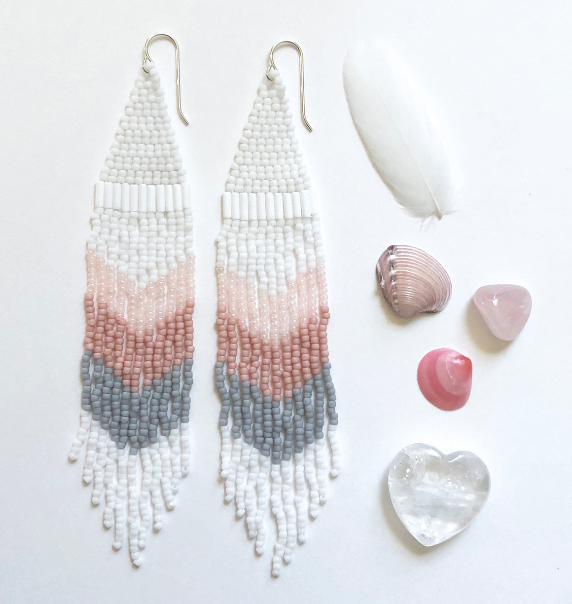 Extra long Handmade Seed Bead Fringe Earrings in chevron pattern with shimmering blush vintage beads and matte white gray and pink.