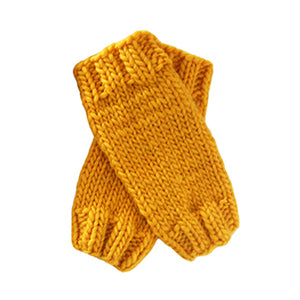 Outer Sunset Fingerless Mitts - Sunshine Yellow, Knitted by Hand
