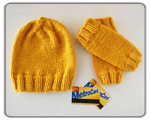 Outer Sunset Hat and Fingerless Mitts - Sunshine Yellow, Knitted by Hand