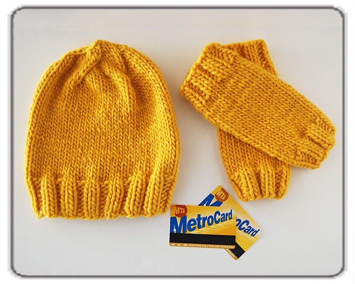 Outer Sunset Hat and Fingerless Mitts - Sunshine