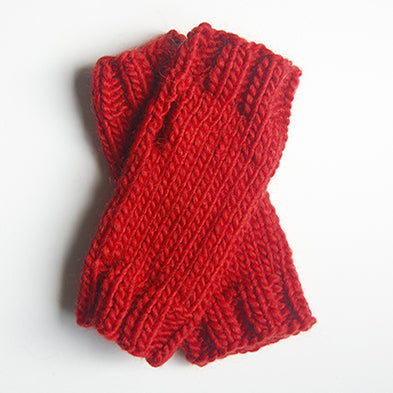 Outer Sunset Fingerless Mitts - Tomato