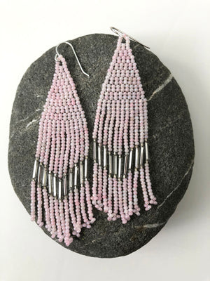 Handmade Seed Bead Fringe Earrings - Pink Art Deco Style with Antique Mirror Beads