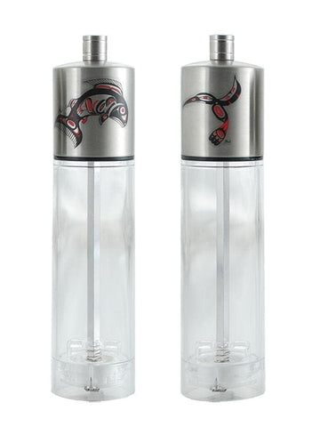 Andrew Williams Salt & Pepper Grinder Set - Salmon & Hummingbird