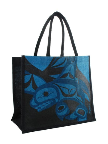 Bill Helin Killer Whale Jute Bag Turquoise