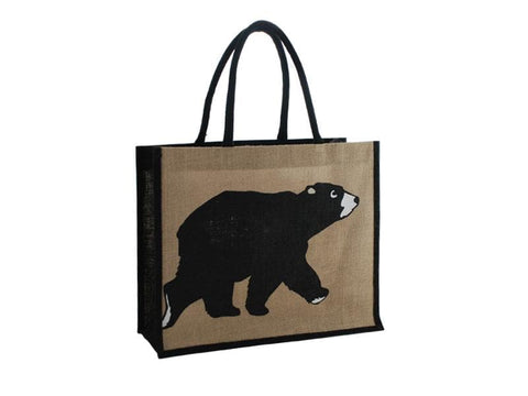 Bear Jute Tote Bag - Natural