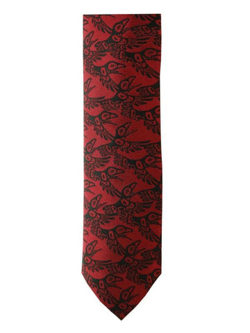 Bill Helin Raven Boxed Silk Tie (Red)