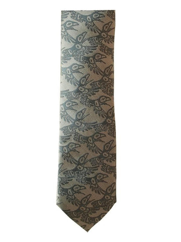 Bill Helin Raven Boxed Silk Tie (Charcoal)