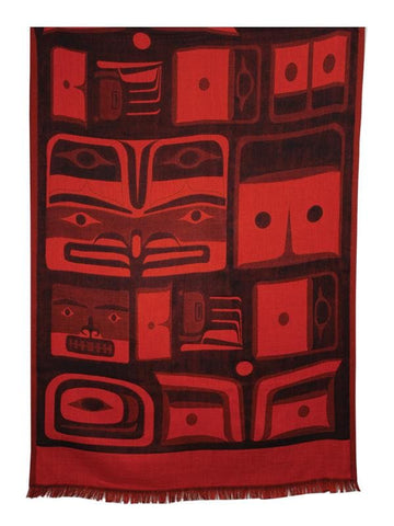 Bill Helin Chilkat Poly Jacquard Shawl 204cm x 74cm (red/black)