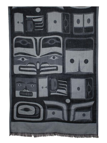 Bill Helin Chilkat Poly Jacquard Shawl 204cm x 74cm (Charcoal)